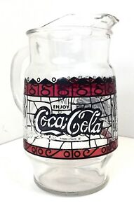 Vintage Coca Cola Glass Pitcher Hand Painted 9.5