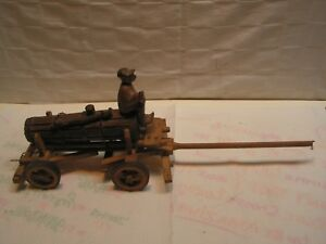 Vintage Tank Wagon With Tongue Driver Figurines Wood Hand Carved