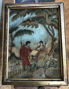Antique 18th C English Needlework Embroidery Pastoral Scene Lovely
