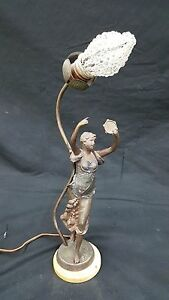 Antique Art Deco Bronze Lady Table Lamp With Beaded Bulb Cover