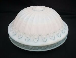 Vintage Art Deco Blue And White Glass Globe Shade
