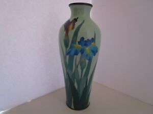 Antique Japanese Cloisonne Vase Meiji Era Purple Blue Iris Flower