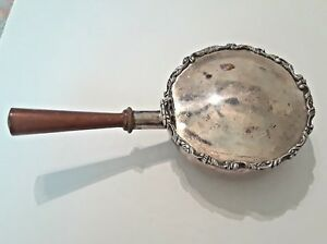 Vintage 6 Silver Chafing Pan Dish With Attached Hinge Lid Wooden Handle