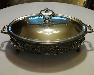 Marinex Glass Bakeware Roaster Casserole Dish With Silver Plate Covered Stand