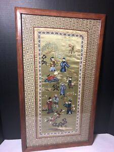 Ornate Asian Oriental Silk Framed Hand Embroidered Tapestry Panel