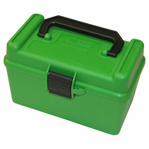 NEW H50RMAG10 MTM Deluxe Ammo Box 50 Round Handle 7mm Rem Mag 300 Win Mag Green
