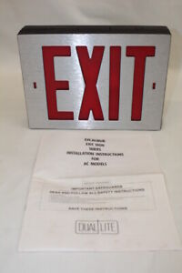New Dual Lite Excalibur Series Ac Model Csrnb 2f Red Letters Exit Sign Mint