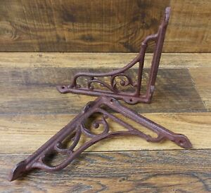 Set Of 2 Vintage Look 6 5 X 6 Cast Iron Scroll Design Shelf Brackets Shelving