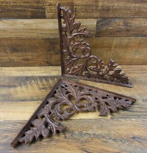 Set Of 2 Vintage Look 10 1 4 X 10 1 4 Cast Iron Oak Leaf Design Shelf Brackets