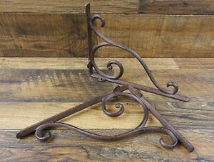 Set Of 2 Vintage Look 6 75 X 9 25 Cast Iron Open Scroll Design Shelf Brackets