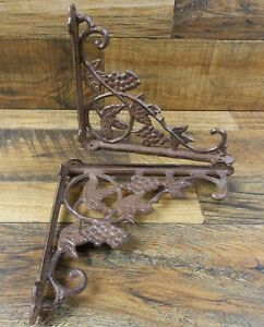 Set Of 2 Vintage Look 7 3 4 X 9 Cast Iron Grape Vine Design Shelf Brackets