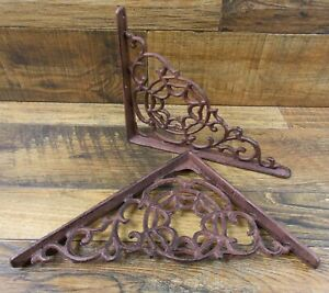 Set Of 2 Vintage Look 7 25 X 9 Cast Iron Web Design Shelf Brackets Braces