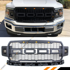 Fit For 2018 19 Ford F150 Black Honeycomb Mesh Grill W Cab Led Offroad Lights