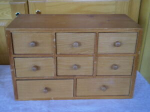 Vintage Wooden Box With 8 Small Drawers