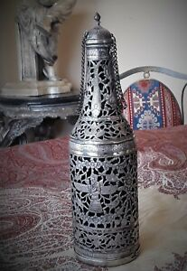Exceptional Antique Persian Qajar Silver Bottle Decanter With Original Glass