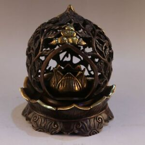 China Antique Handmade Bronze Hollow Out Lotus Base Uddhism Incense Burners