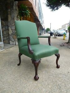 Fantastic Chippendale Ball Claw Library Chair Crafted By Hickory 20thc