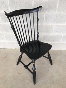 Nichols Stone Black Fan Back Paint Decorated Windsor Side Chair