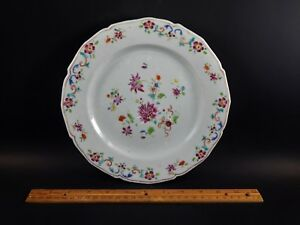 Antique Chinese Export Famille Rose Porcelain Plate Shaped Rim 18th C Qing