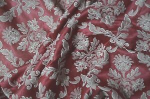 Antique French Pure Cotton Satin Brocade Burgundy And White 1 Yard 31 Long