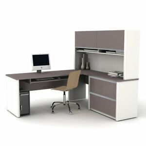 Bestar Connexion L shaped Desk With Hutch Sandstone Slate