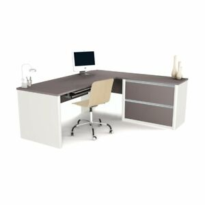 Bestar Connexion L shaped Workstation With Oversized Pedestal Sandstone And