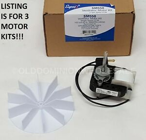 X3 Supco Sm550 Bathroom Vent Fan Ventilator Motor Kit For Gem Nutone Robertshaw