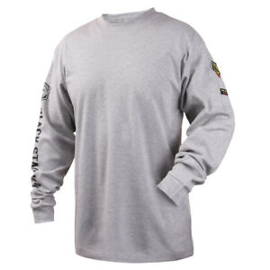 Revco Black Stallion Gray 7 Oz Fr Cotton Knit Long sleeve T shirt Size Medium