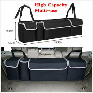 High Capacity Multi use Car Seat Back Organizers Bag Interior Accessories Black