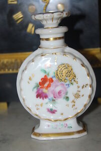 Wonderful French Old Paris Hand Painted Flowers Porcelain Perfume Liquor Bottle