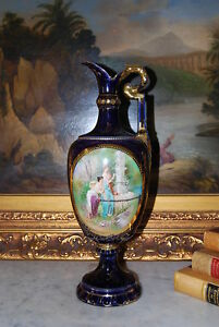Large Royal Vienna Style Neoclassical Cobalt And Gold Cabinet Jug Urn Or Vase
