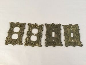Lot Of 4 Brass Outlet Receptacle Light Switch Wall Plates