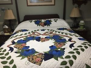 Hand Quilted Queen Size Quilt From Kutztown Folk Festival With Coa