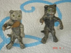 2 Antique Cold Painted Miniature Metal Cat Figurines Playing Badminton