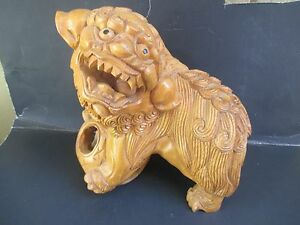 Large 10 Tall Amazing Vintage Asian Hand Carved Wood Foo Dog Wood Ball 3258