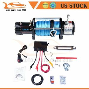 For Offroad Truck Trailer 13000lbs Electric Winch Synthetic Rope Cable 12v Usa