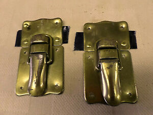 3109m Vtg Taylor Trunk Pair Locking Latches Hardware Brass Metal 5 Tall 3 Wide