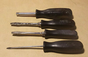 Lot Of 4 Snap On Black Handle Screwdrivers 1 4 Driver