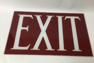 Vtg New Old Stock Nos Art Deco Reverse Painted Glass Exit Sign 15 1 2 X 10