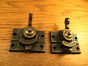 Pair Old Window Sash Locks Brass Bronze Top Ornate Detail