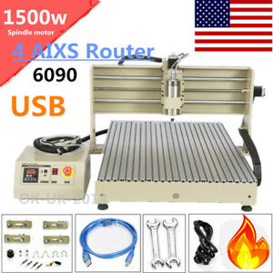 6090 4 Axis Cnc 1 5kw Router Engraving Usb Port Machine Metal Milling Machine