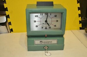 Acroprint Time Recorder Clock Manual Punch Card 125nr4 With Key