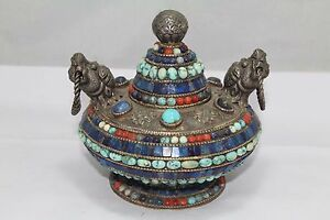 Rare Original Collectible Handwork Tibetan Coral 925 Sterling Silver Urn Box Pot