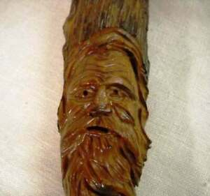 2009 Wood Carved Face On Branch Folk Art Wall Plaque Hand Carved Initialed Chr