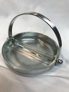 Chase Art Deco Chrome Divided Candy Dish With Handle Glass Insert Machine Age