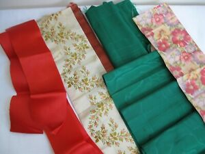 Vintage And Antique Ribbon Red Green Pastel Flowered Watermark Silks Rayon Wide