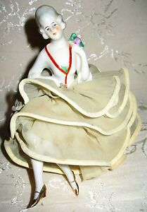 Victorian Lady Porcelain Pin Cushion And She Still Has Her Legs Rare To Find