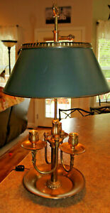 French Empire Regency Brass Chapman Bouillotte Study Lamp 3 Candle Tole Shade