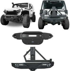 Front Rear Bumper W Led Light Spare Tire Carrier For Jeep Wranger 07 18 Jk