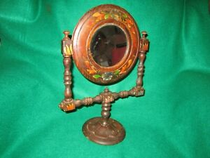 Primitive Wood Vanity Dresser Mirror Polychrome With Stand